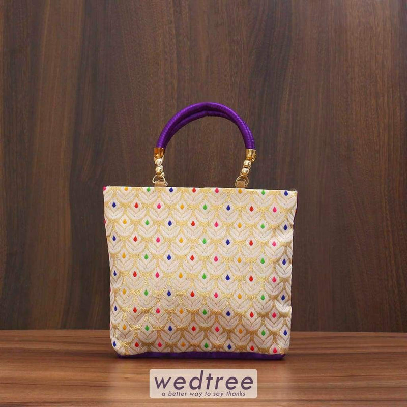 Hand Bag Raw Silk Golden Multicolour Flower Dots - Big Bags