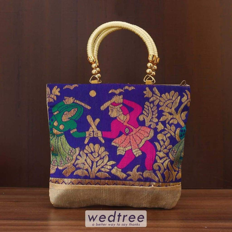 Hand Bag Raw Silk With Dandiya Prints Medium Bags