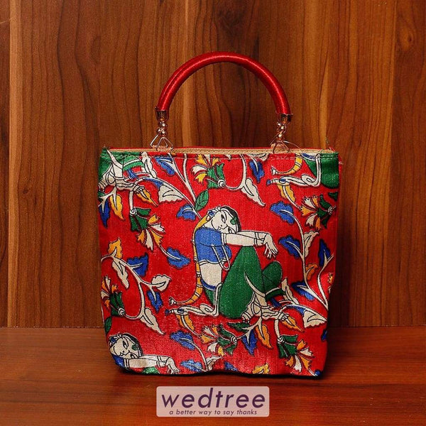 Hand Bag Raw Silk With Digital Print - W4524 Bags