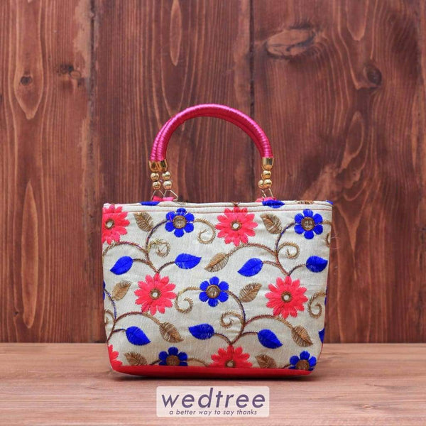 Hand Bag Raw Silk With Floral Embroidery - W3607 Bags