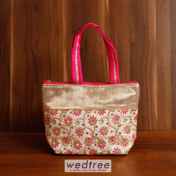 Hand Bag Raw Silk With Flower Embroidery Work - W4537 Bags