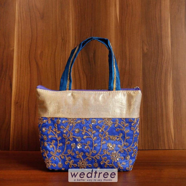 Hand Bag Raw Silk With Gold Embroidery Work - W4531 Bags