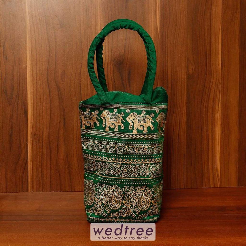 Hand Bag Raw Silk With Golden Block Prints - W4501 Bags