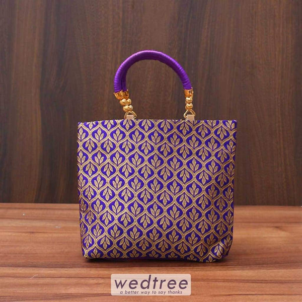 Hand Bag Raw Silk With Golden Leaf Design Bags