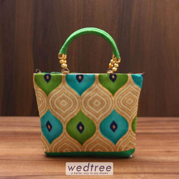 Hand Bag Raw Silk With Golden Print - W3603 Bags