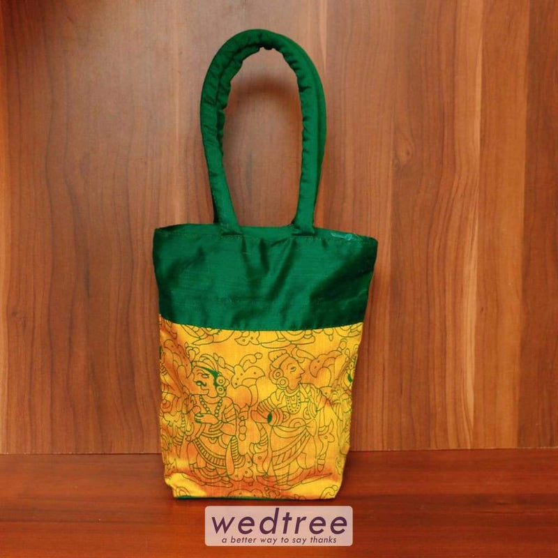 Hand Bag Raw Silk With Kalamkari Print - W4503 Bags