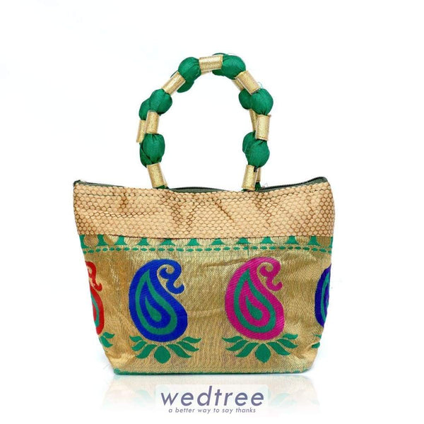 Hand Bag - Raw Silk With Mixed Design Bags