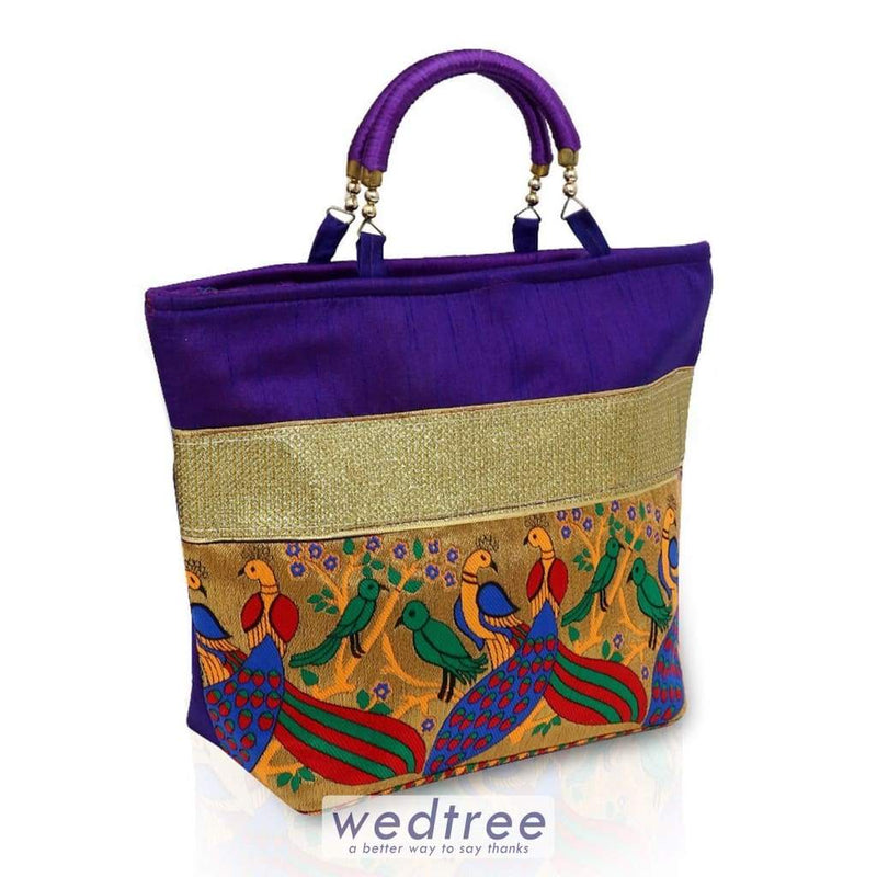 Hand Bag - Raw Silk With Peacock Design Bags