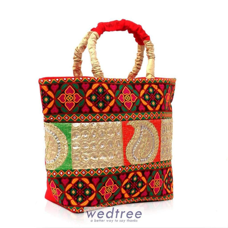Hand Bag - Raw Silk With Thread Work Bags