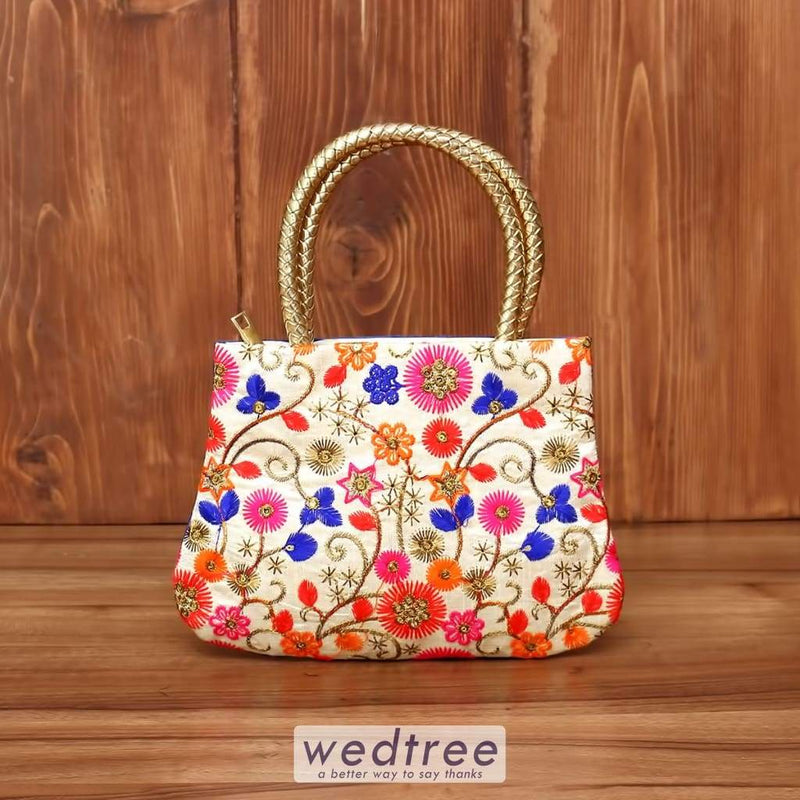 Hand Bag Thread Embroidery Work With Golden Handle - W3843 Bags