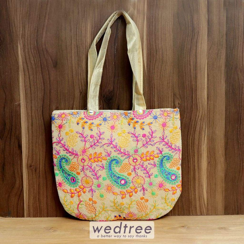 Hand Bag U Shape Velvette And Raw Silk Embroidery - W4377 Bags