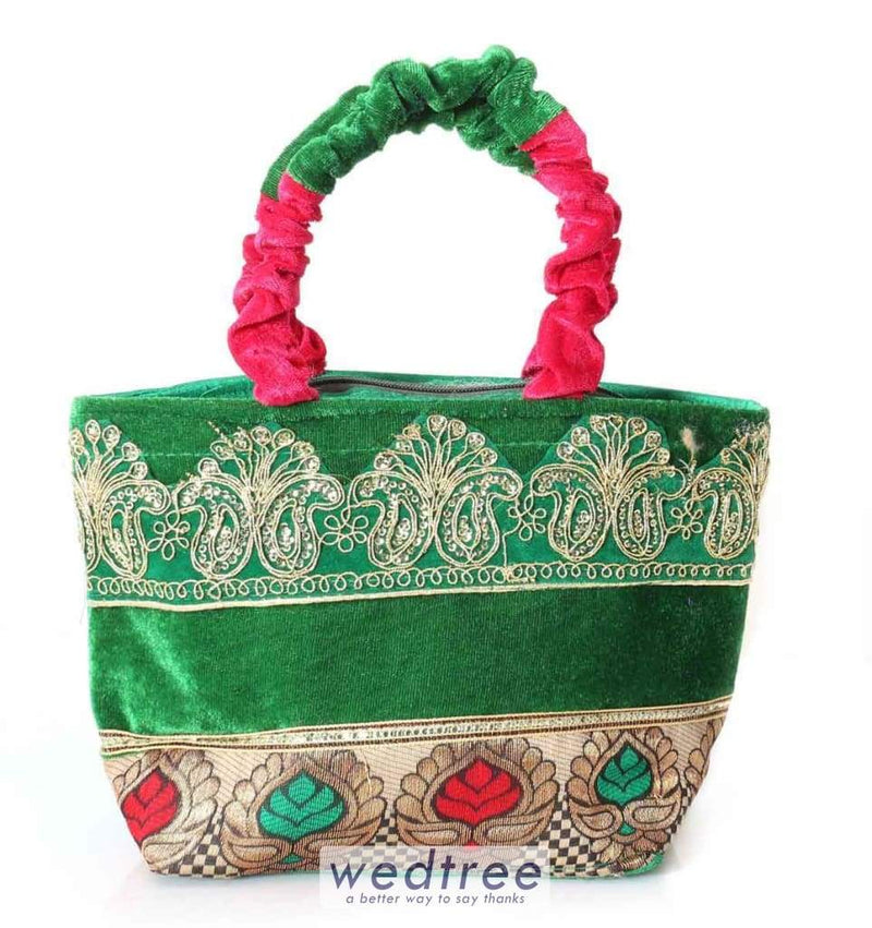 Hand Bag - Velvet With Flower Design And Gold Embroidery Bags