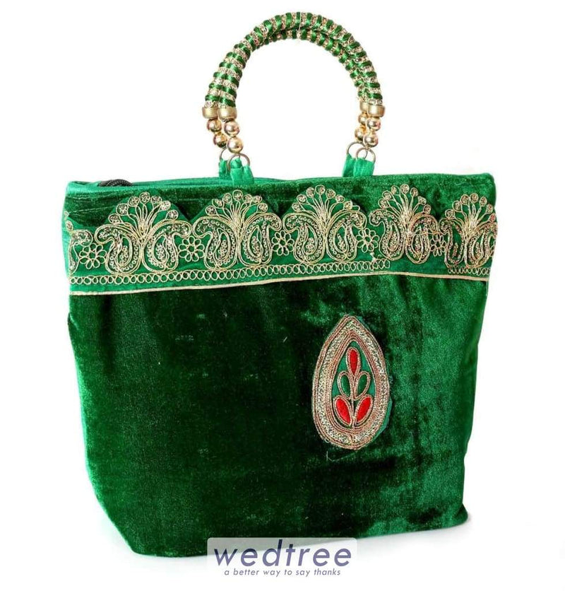 Hand Bag - Velvet With Rich Golden Embroidery And Motif Bags
