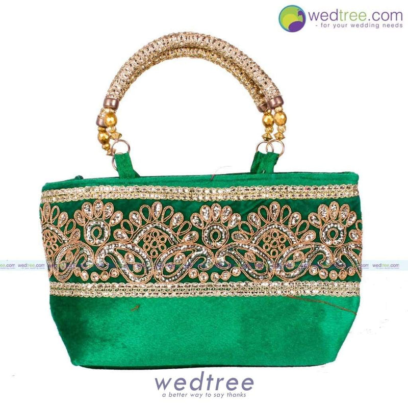 Hand Bag - Velvette With Golden Zari Bags