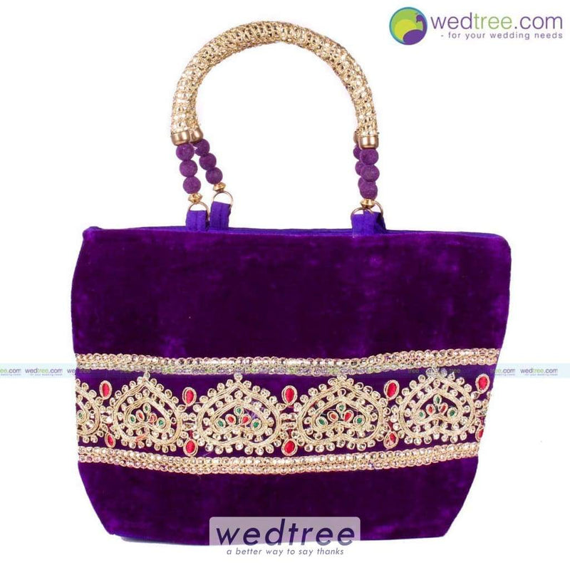 Hand Bag - Velvette With Rich Golden Zari Bags