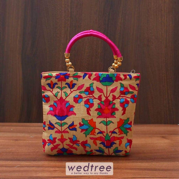 Hand Bag With Flower Print - W3518 Bags