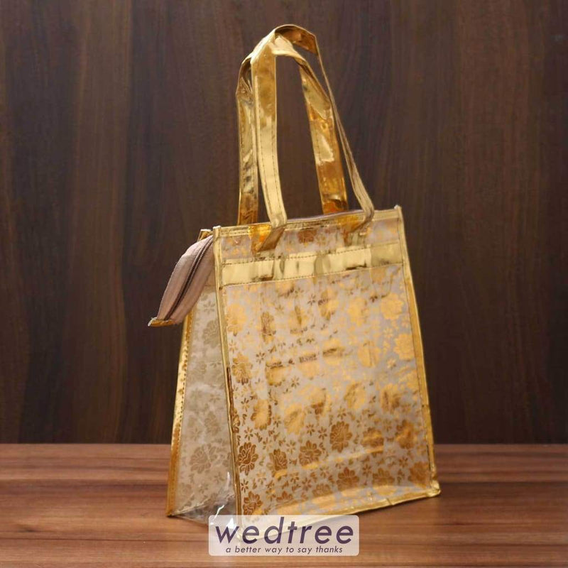 Hand Bag With Golden Flower Print- W3555 Bags