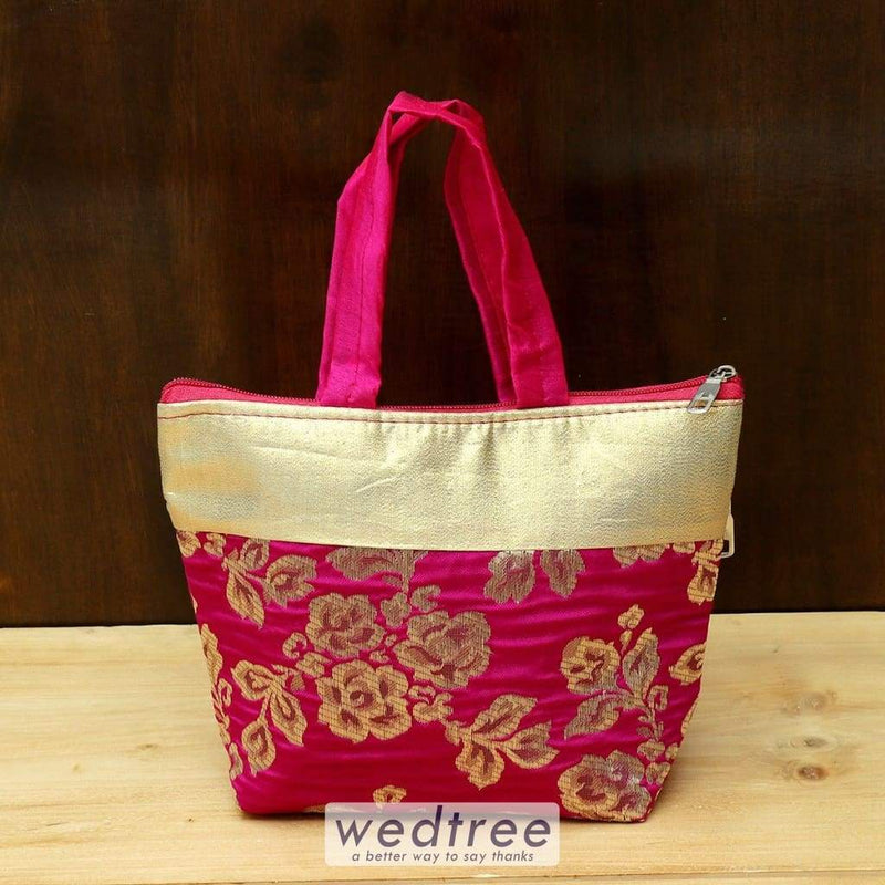 Hand Bag With Golden Flower Print - W4433 Bags