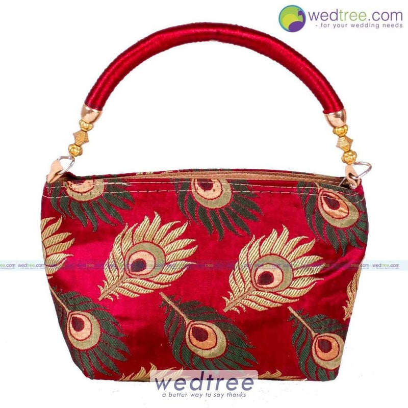 Hand Bag With Peacock Feather Design Small Bags