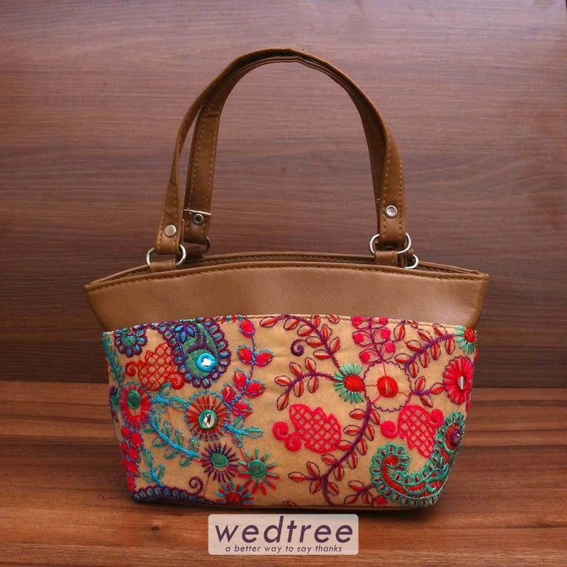 Hand Bag With Thread Embroidery & Mirror Work Bags