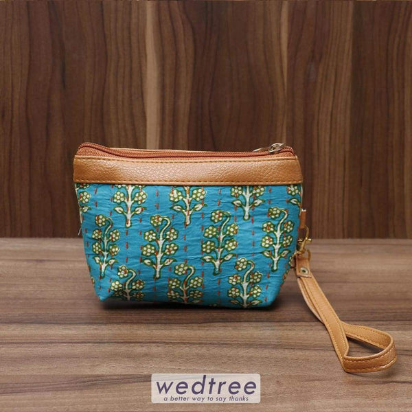 Hand Purse With Kantha Work Double Zip Small - W4507 Clutches & Purses