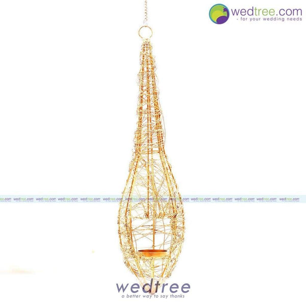 Hanging Candle Light Holder With Gold Finish Diyas & Holders