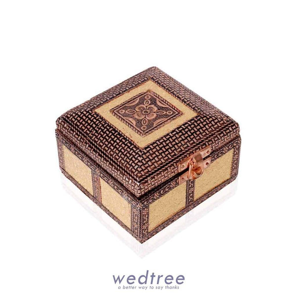 Jewel Box - Golden Oxidised In Square Shaped Jewellery Holder