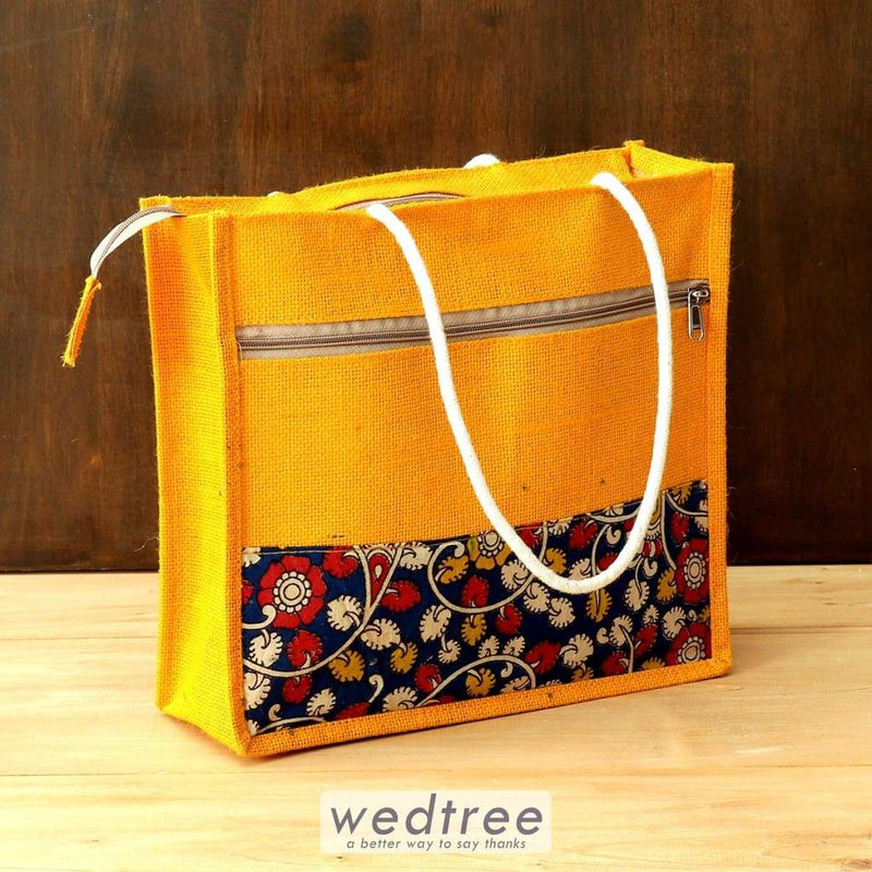 Jute And Kalamkari Bag - W4413 Bags