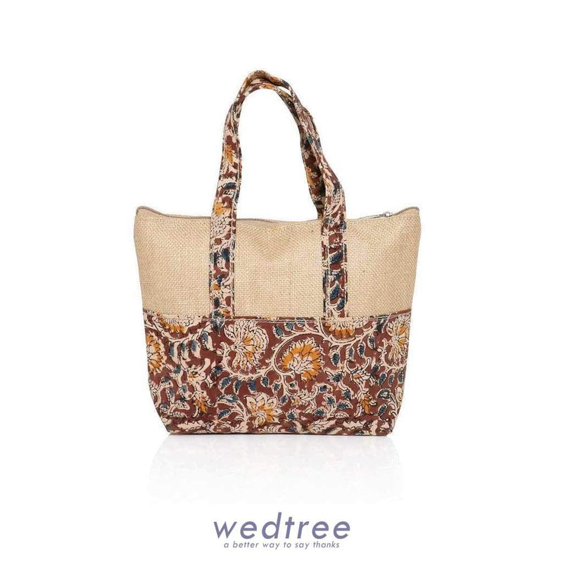 Jute And Kalamkari Hand Bag - W2912 Bags