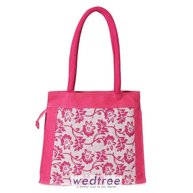 Jute Bag - Floral Print With Zipper Bags