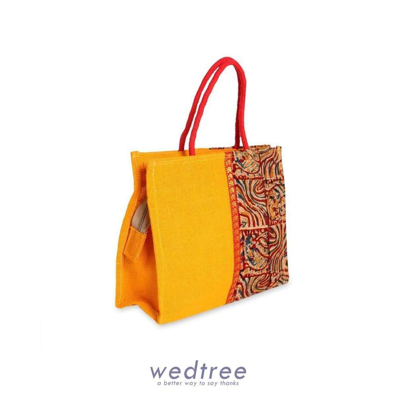 Jute Bag Kalamkari And Zari With Zipper - W2897 Bags