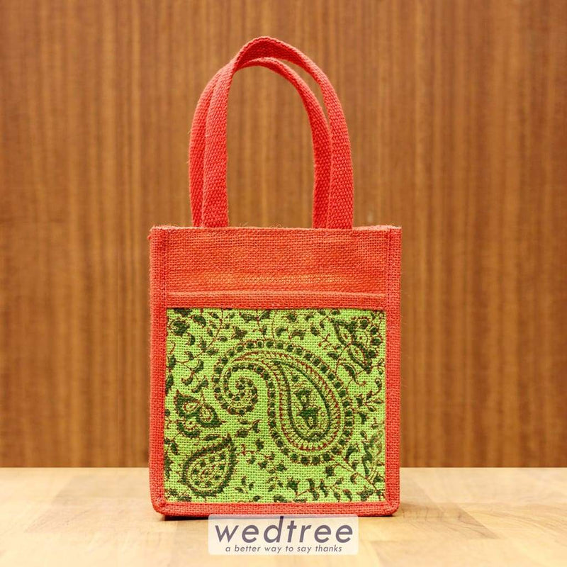 Jute Bag Paisley Block Print With Front Pouch - W4245 Bags