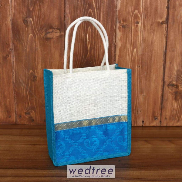 Jute Bag Raw Silk Border With Zari - W3871 Bags