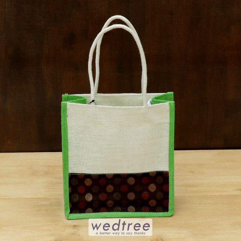 Jute Bag With Brocade Fabric - W4417 Bags