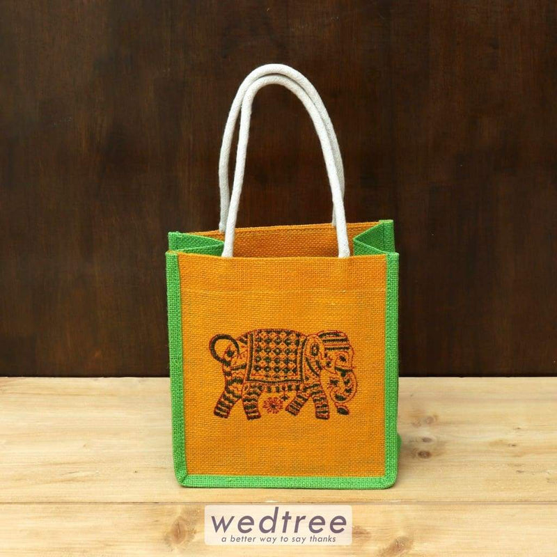 Jute Bag With Elephant Block Print - W4436 Bags