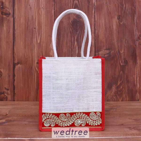 Jute Bag With Embroidered Velvet Lace - W4052 Bags