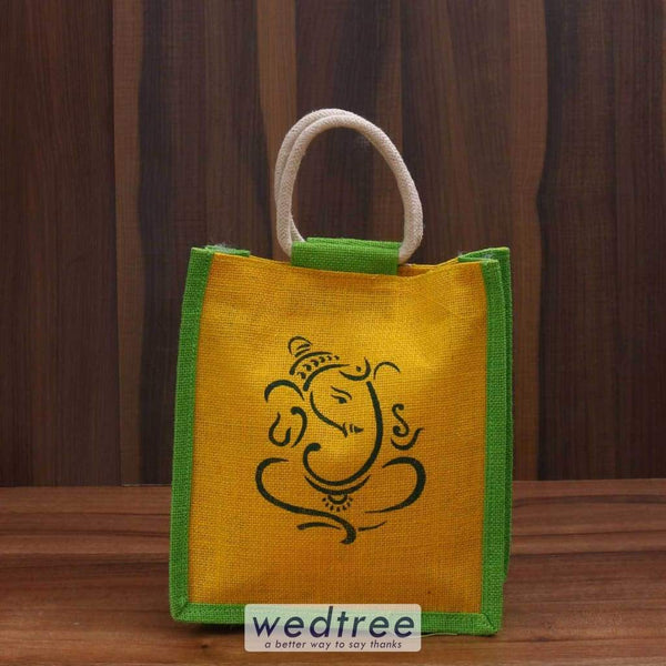 Jute Bag With Ganesha Print - W3442 Bags