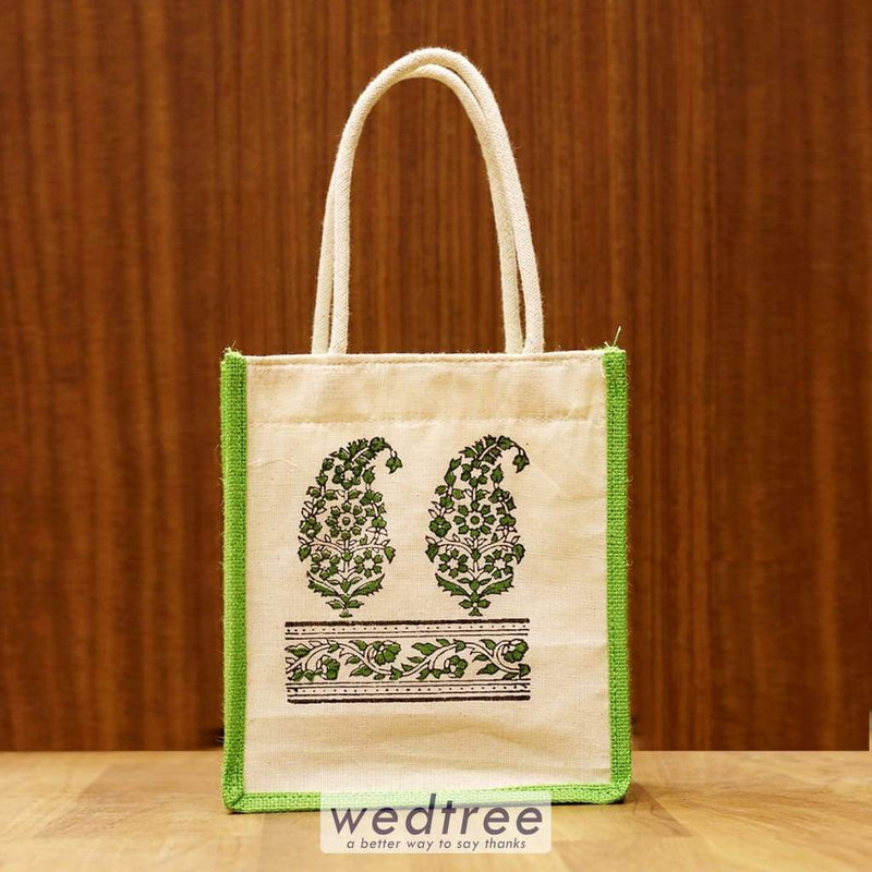 Jute Bag With Hand Block Print - W4246 Bags