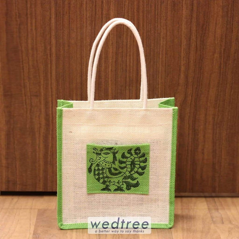 Jute Bag With Hand Block Printed Pouch - W4243 Bags