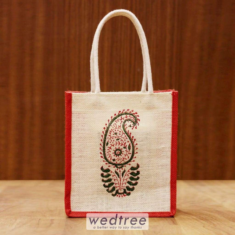 Jute Bag With Mango Block Print - W4244 Bags