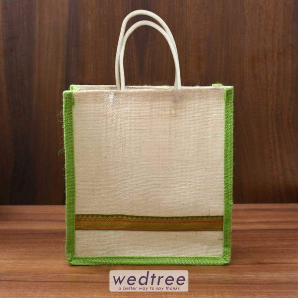 Jute Bag With Zari Lace - W3522 Bags