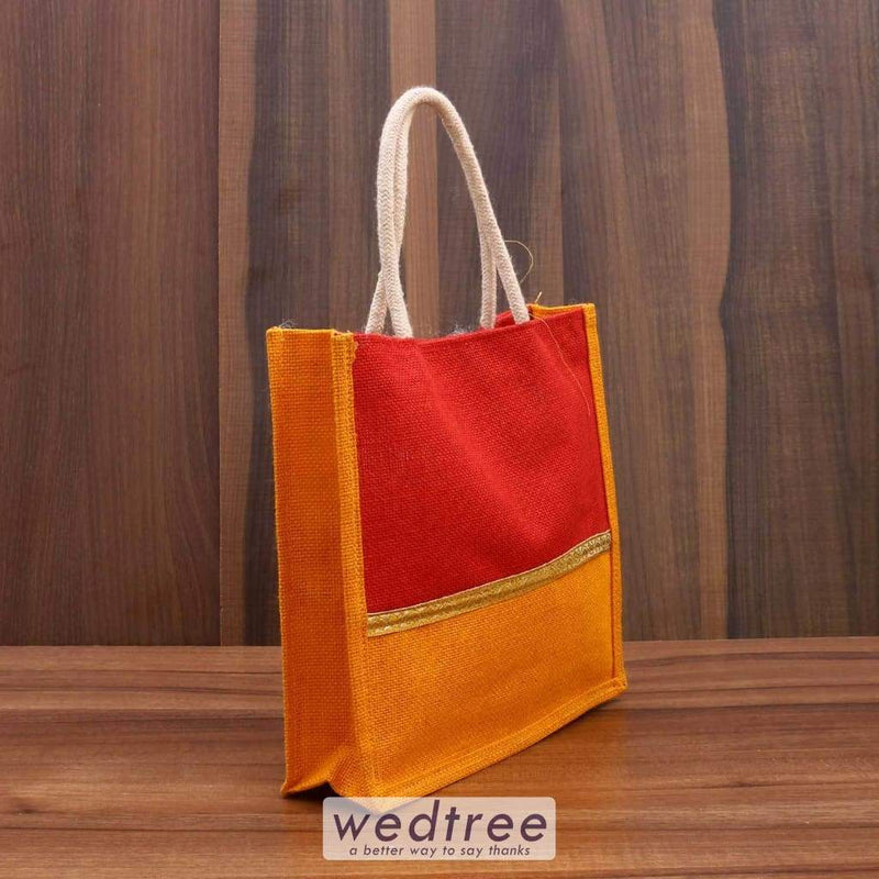 Jute Bag With Zari - W3443 Bags