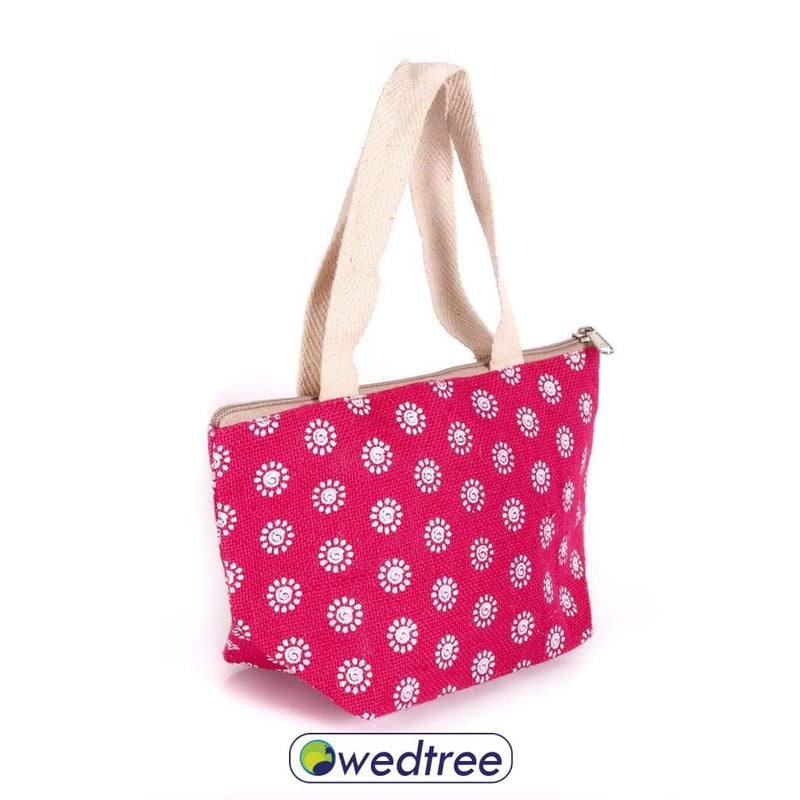 Jute Hand Bag Mini With Flower Prints Bags