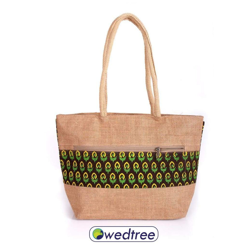 Jute Hand Bag With Flower Print Bags