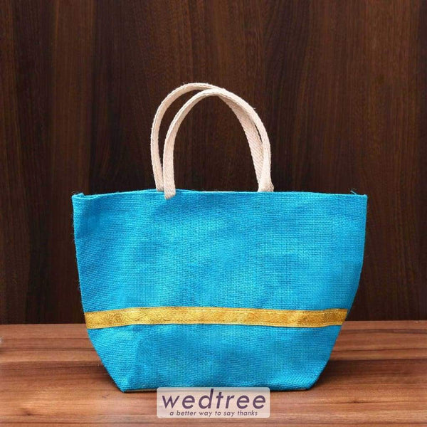 Jute Hand Bag With Golden Zari - W3582 Bags