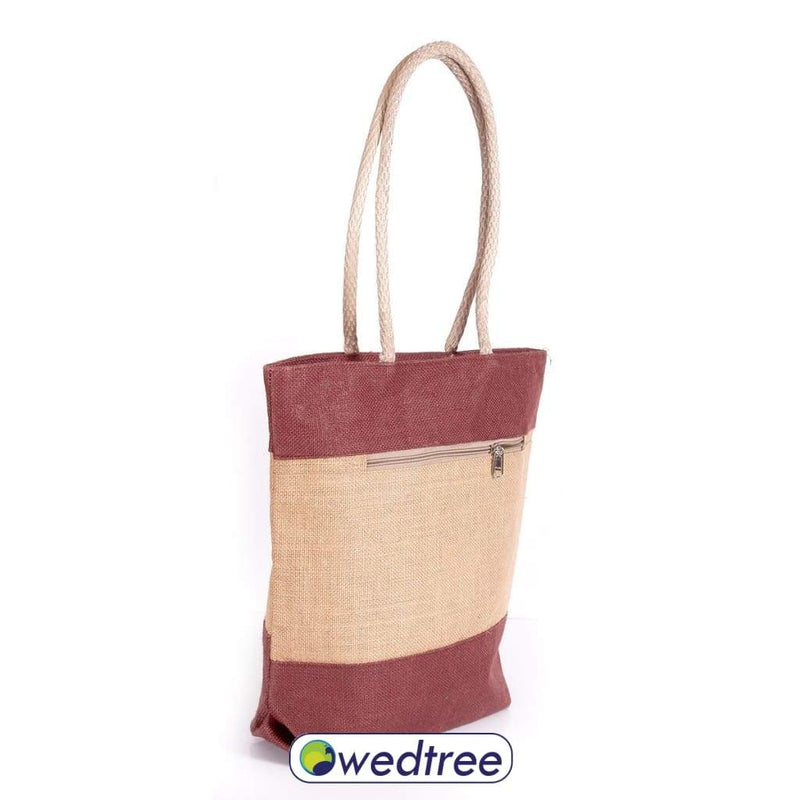 Jute Hand Bag With Zipper Bags