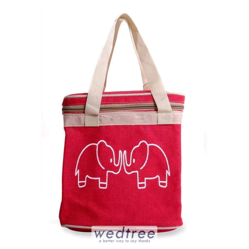 Jute Lunch Bag - Elephant Print With Zipper Bags