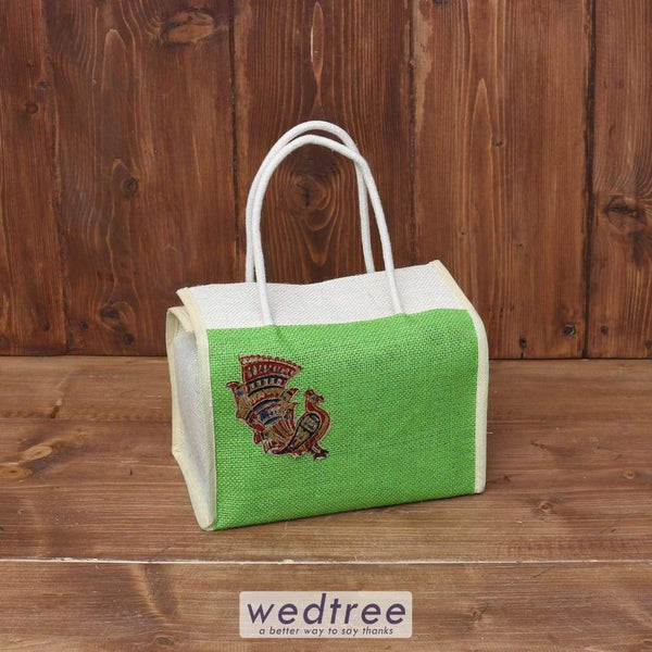 Jute Lunch Bag With Mixed Applique Work - W3868 Bags