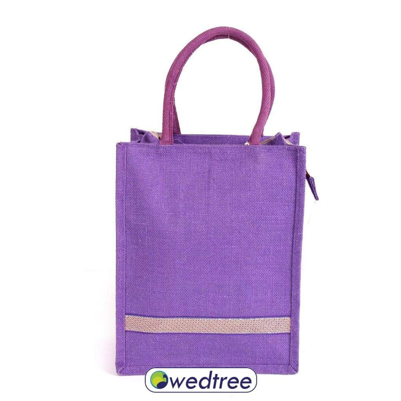 Jute Lunch Bag With Zari Bags