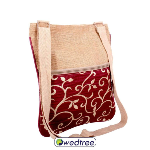 Jute Sling Bag Leaf Design Sling Bags
